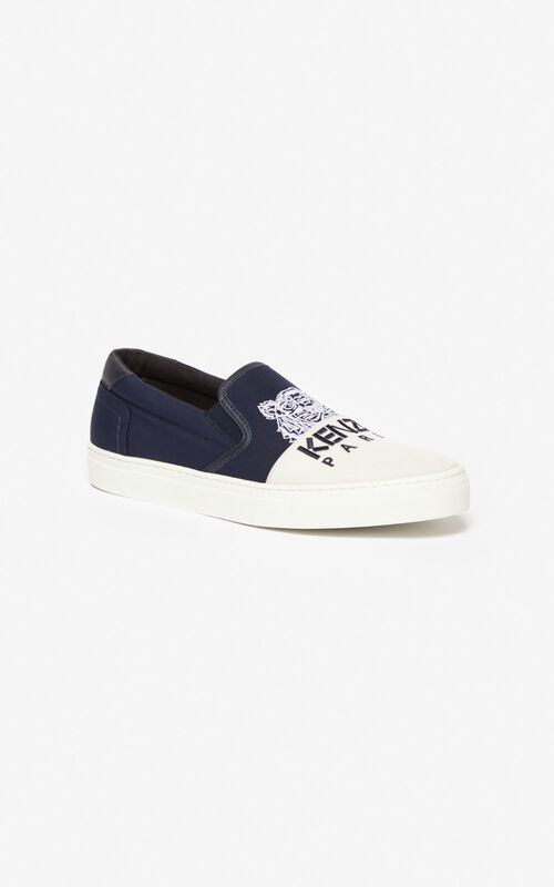 NAVY BLUE K-Skate 'Colorblock Tiger' slip-ons for unisex KENZO