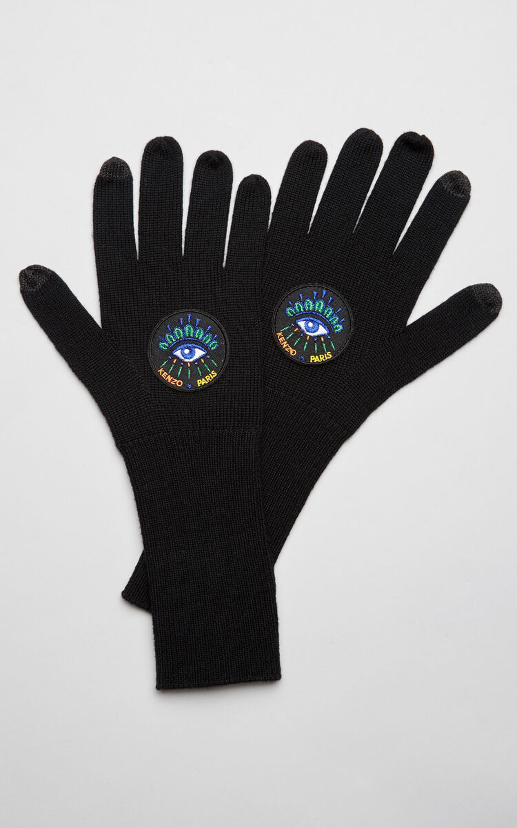 BLACK 'Holiday Capsule Collection' woolly Eye gloves for unisex KENZO