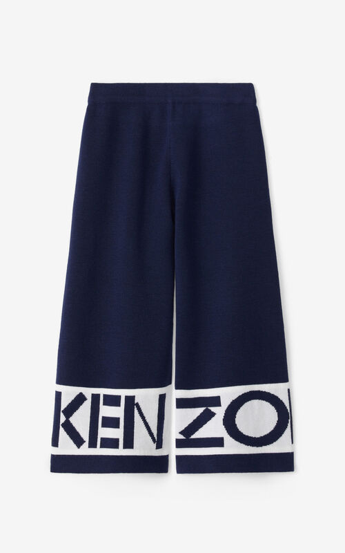NAVY BLUE KENZO wool trousers for women