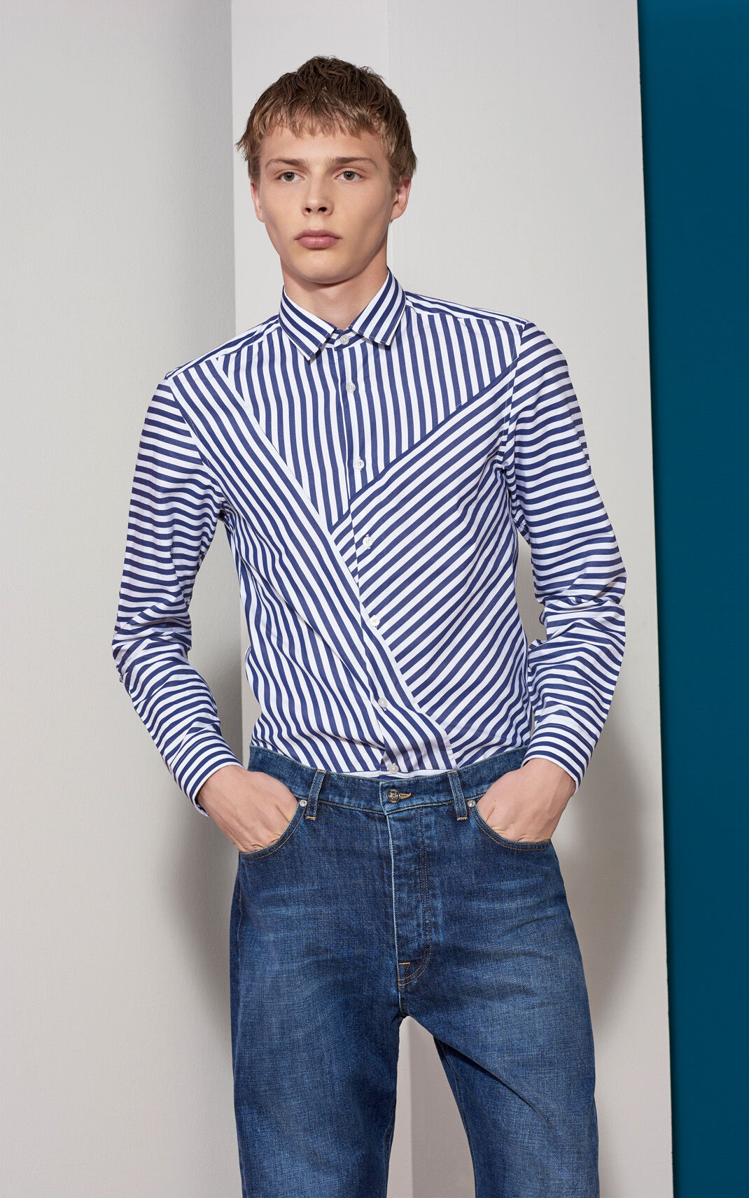 MIDNIGHT BLUE Graphic Patched Shirt for men KENZO