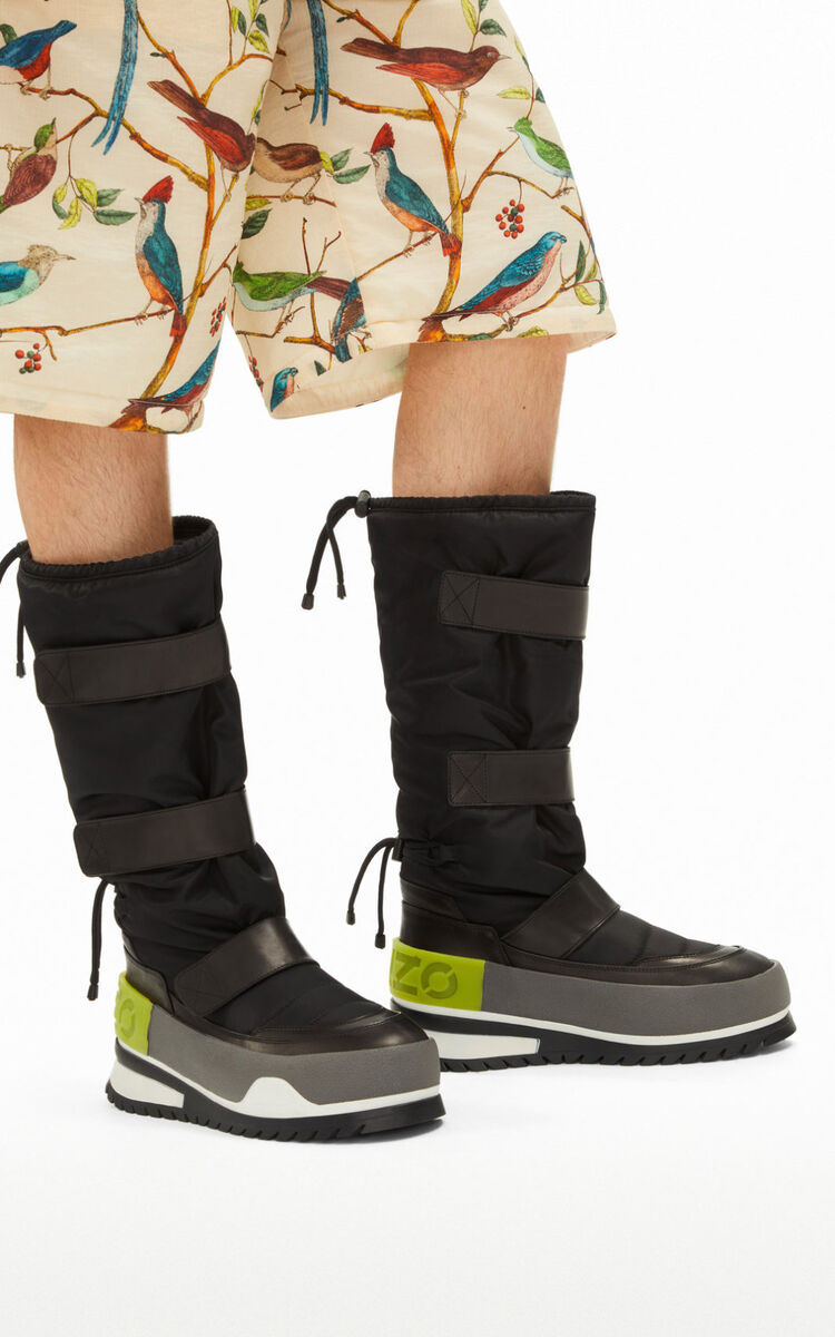 BLACK KENZO Logo leather boots for women