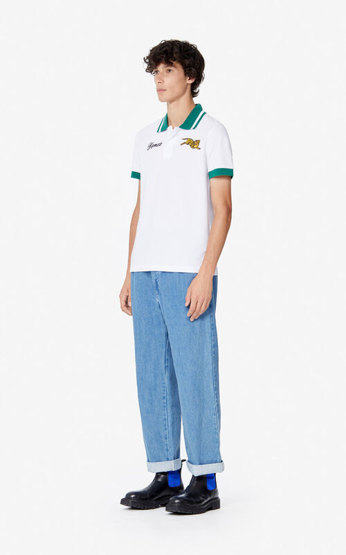 WHITE 'Jumping Tiger' fitted polo shirt for men KENZO