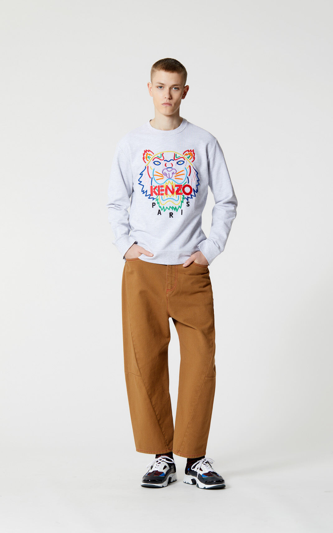 PALE GREY 'High Summer Capsule Collection' Tiger sweatshirt for women KENZO