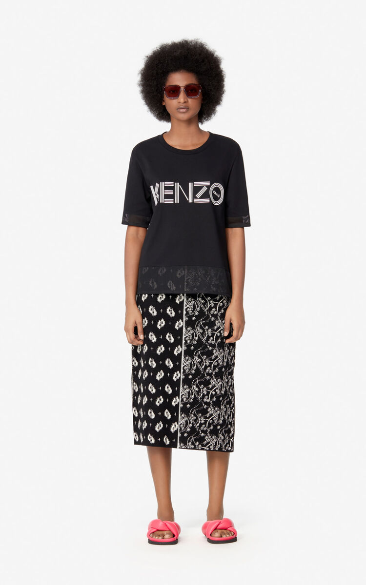 BLACK KENZO logo dual-material T-shirt  for women