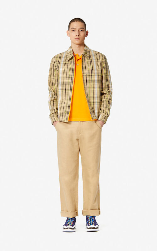 DARK BEIGE Textured check print jacket for men KENZO