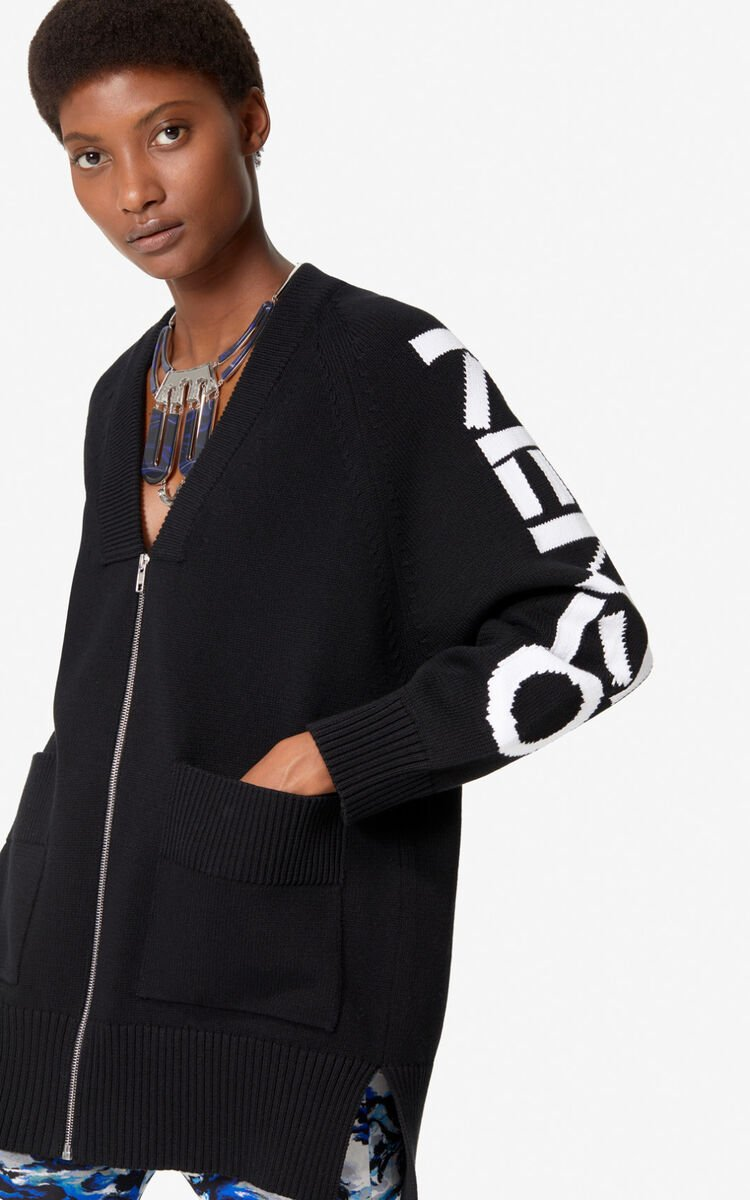 BLACK KENZO zipped cardigan  for women