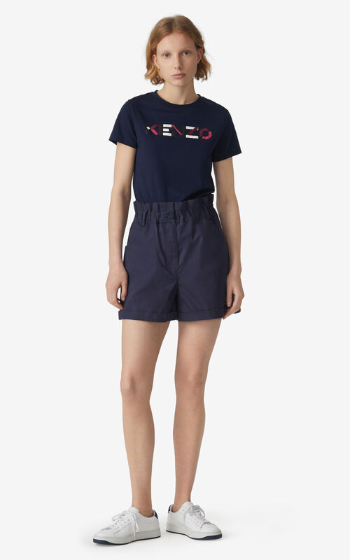 NAVY BLUE KENZO Logo T-shirt for women