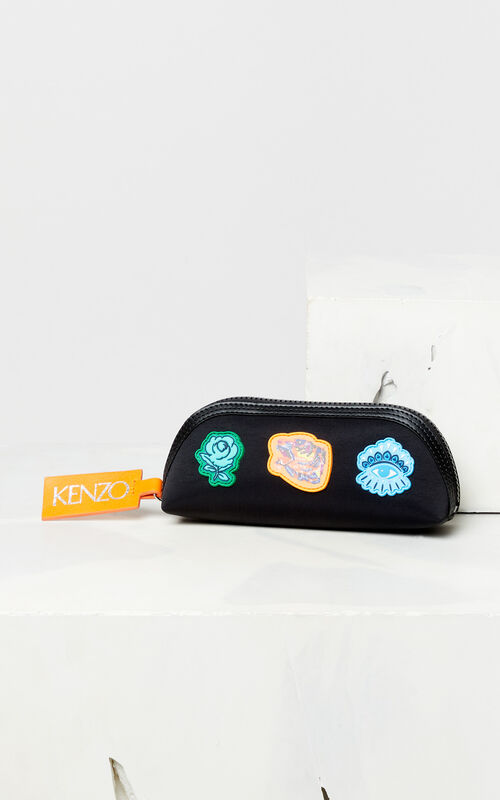 BLACK Multi-icon pencil case 'Go Tigers Capsule' for men KENZO
