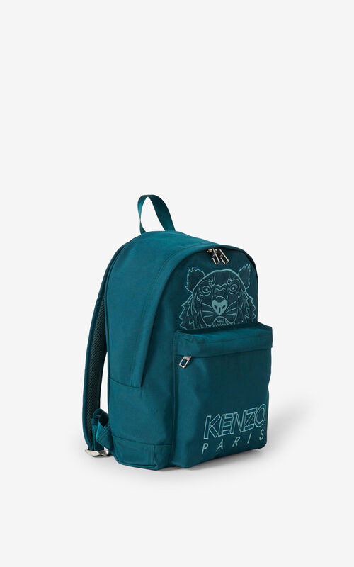 DUCK BLUE Kampus Tiger canvas rucksack for men KENZO