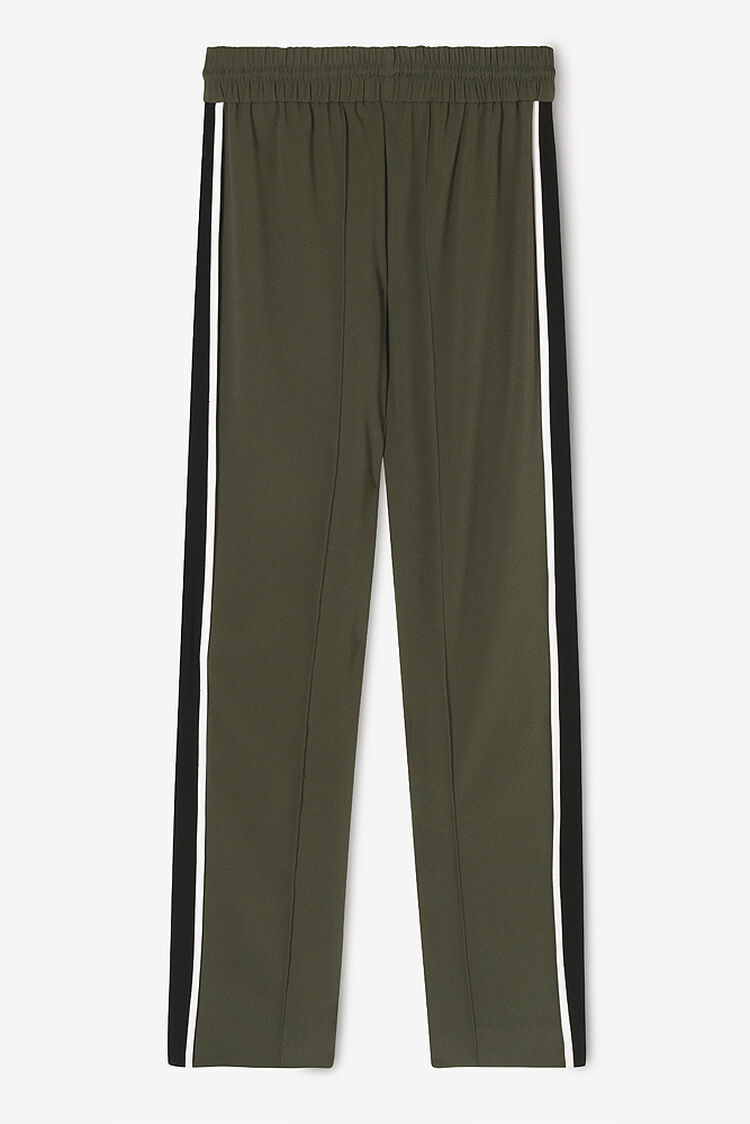 DARK KHAKI Satin Mid-Waist Track Pant  for women KENZO