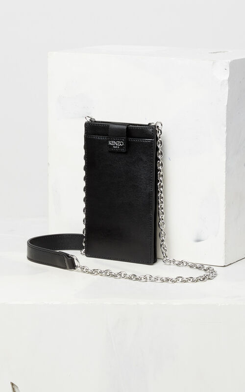 BLACK Eye leather phone case with chain for women KENZO