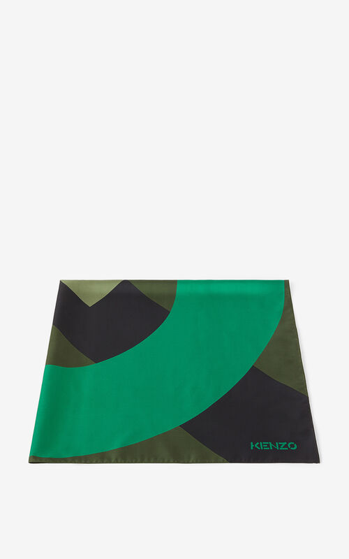 GREEN KENZO Flag silk square for unisex