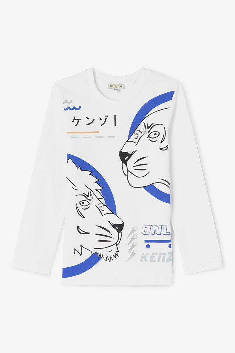 WHITE Tiger and Friends Long T-shirt for women KENZO