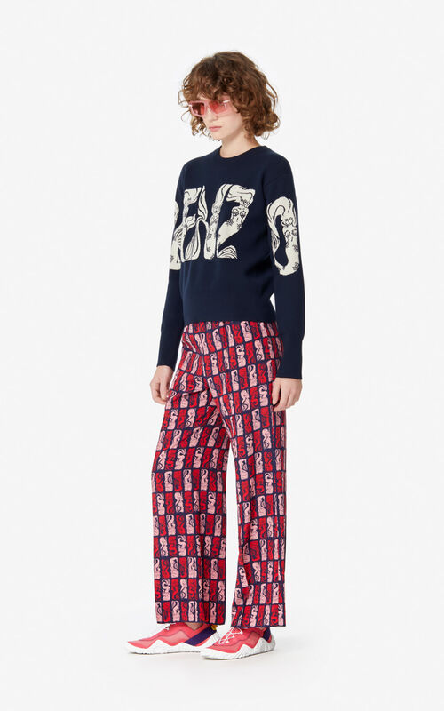 MIDNIGHT BLUE 'Mermaids' trousers for women KENZO