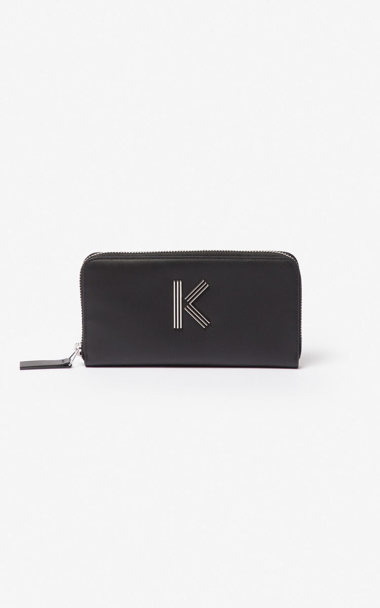 BLACK K-Bag leather wallet for unisex KENZO
