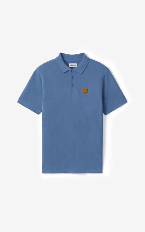 BLUE Tiger Crest polo for unisex KENZO