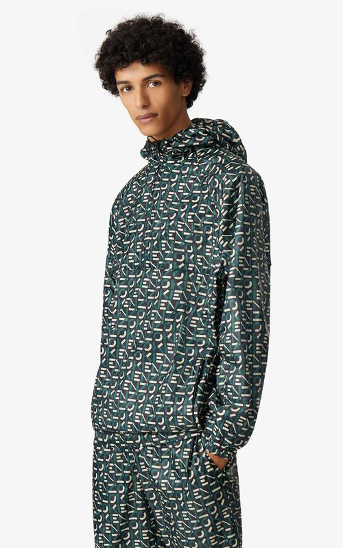 GREEN KENZO Sport monogrammed anorak for men