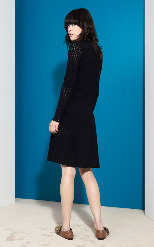 Fit and Flare Lace hole Skirt, BLACK, KENZO