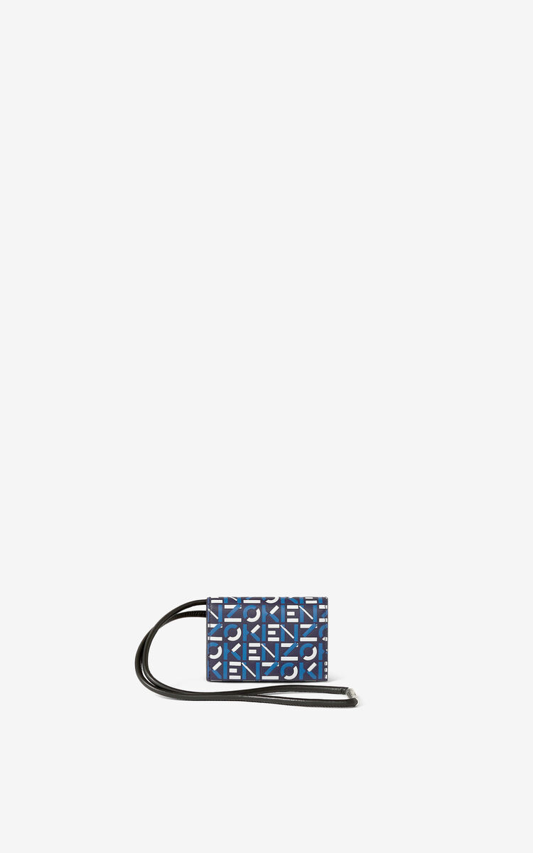 MIDNIGHT BLUE Monogram leather card holder with strap    for unisex KENZO