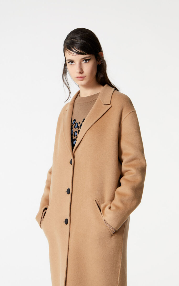 DARK BEIGE Wool and cashmere coat for women KENZO