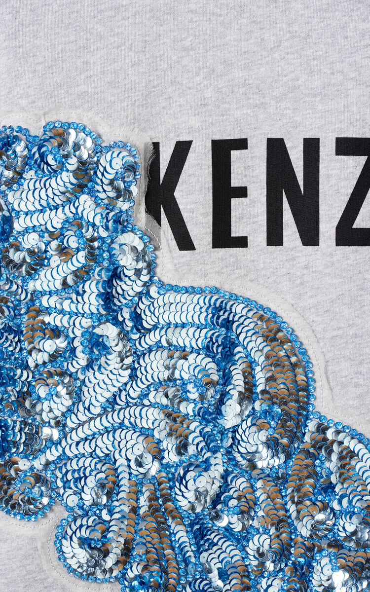 PALE GREY KENZO sweatshirt with embroidered sequins for women