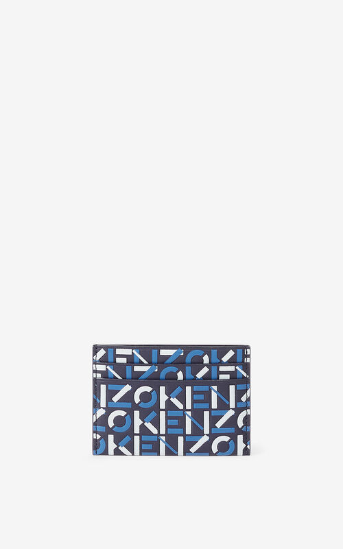MIDNIGHT BLUE Monogram leather card holder    for unisex KENZO