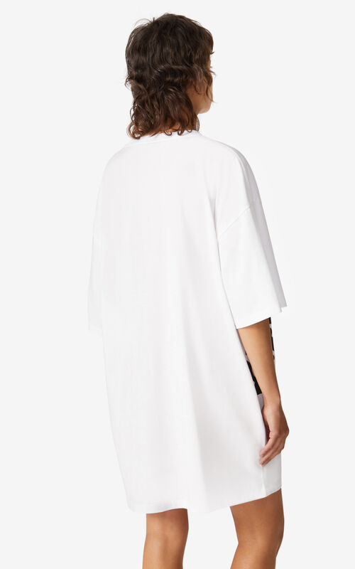 WHITE K-Tiger oversized T-shirt dress for women KENZO