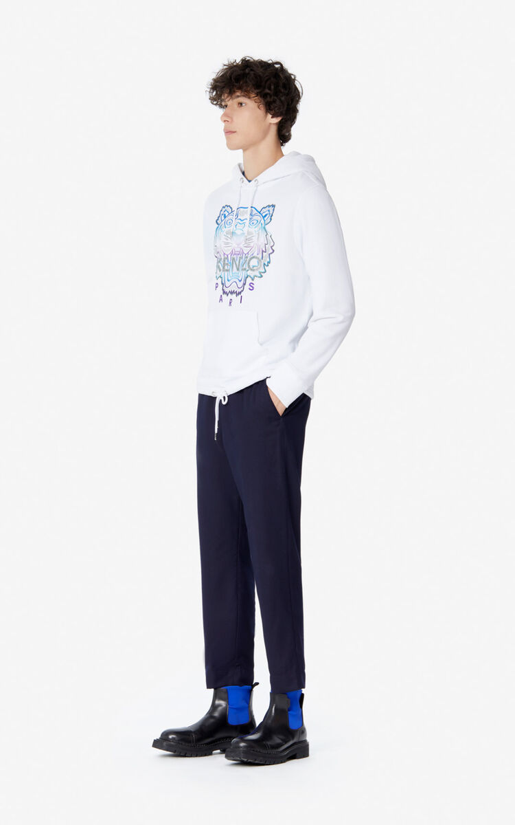 WHITE Hooded Tiger sweatshirt for men KENZO