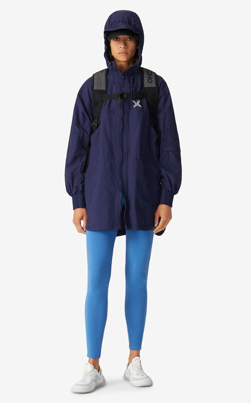MIDNIGHT BLUE Lightweight KENZO Sport 'Little X' parka for women