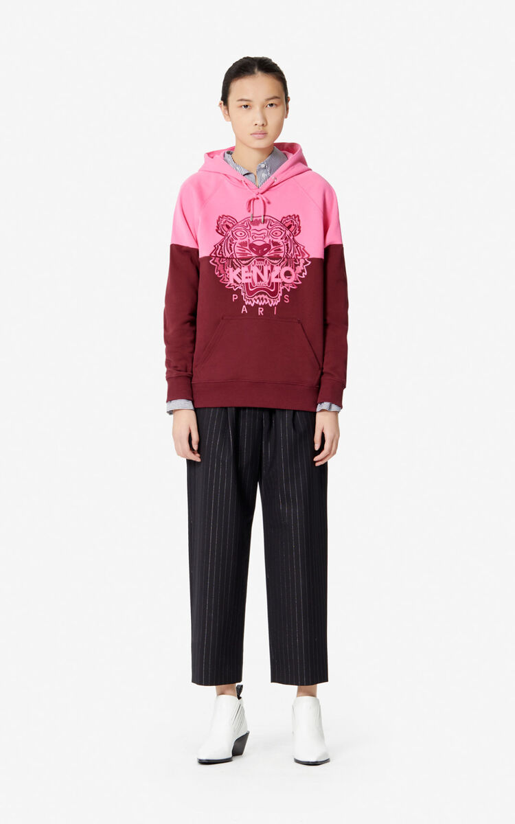 BORDEAUX Tiger two-tone hoodie for women KENZO