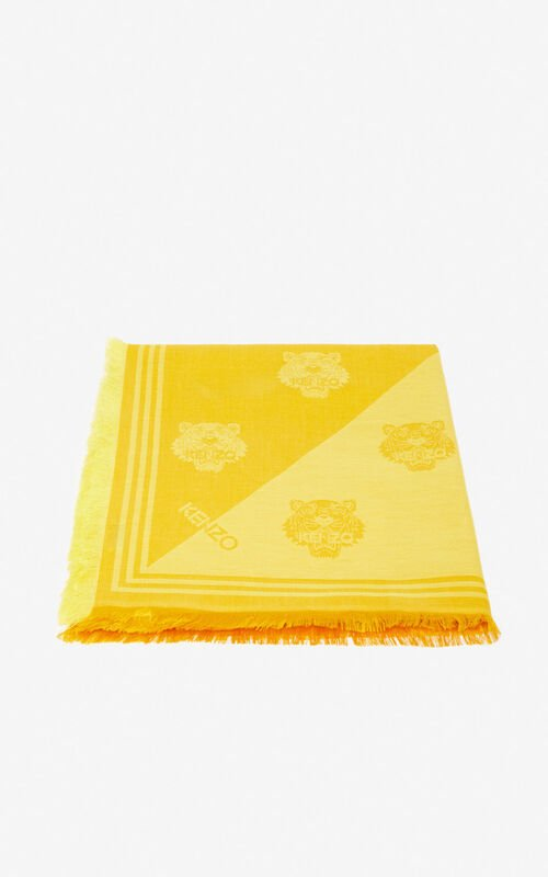 PALE CAMEL Large two-tone Tiger scarf for unisex KENZO