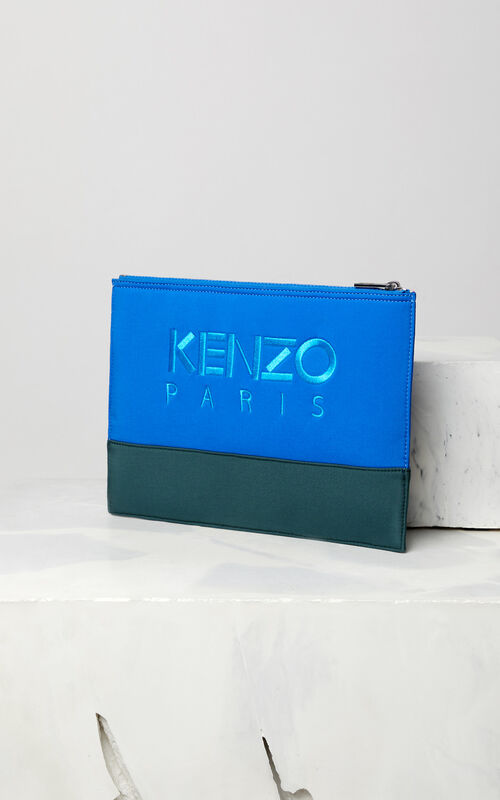 FRENCH BLUE Bicolore Tiger clutch in neoprene for women KENZO