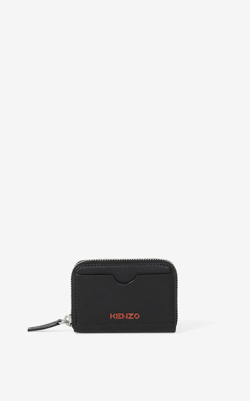 BLACK KENZO Cadet zipped leather coin purse for unisex