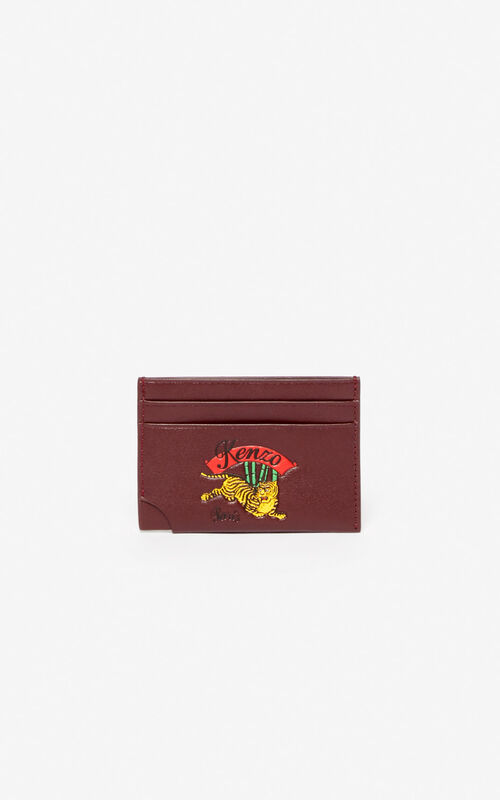 BORDEAUX 'Jumping Tiger' leather card holder for men KENZO