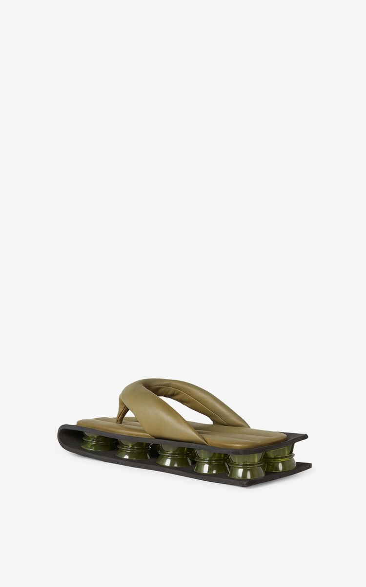 PALE KHAKI Kenzori quilted leather sandals for unisex