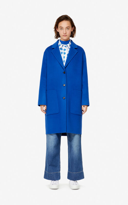 FRENCH BLUE Wool and cashmere coat for women KENZO