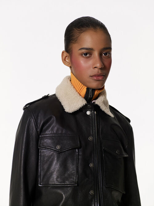 BLACK Leather biker jacket for women KENZO