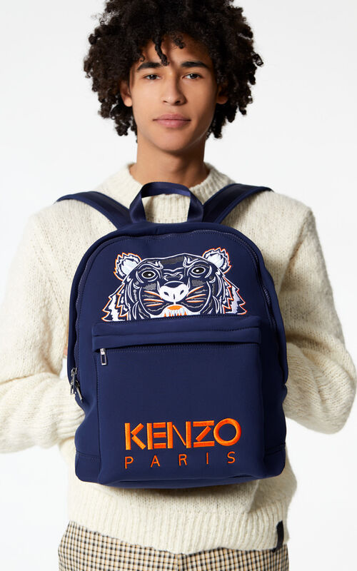 NAVY BLUE Large Neoprene Tiger backpack for women KENZO