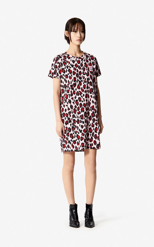 PASTEL PINK 'Leopard' t-shirt dress for women KENZO