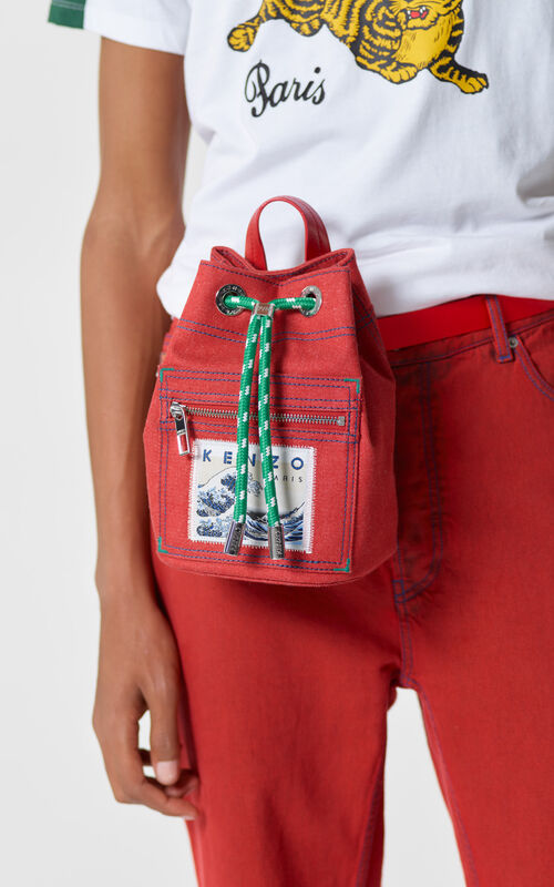 MEDIUM RED Mini denim 'Kanagawa Wave' rucksack for women KENZO