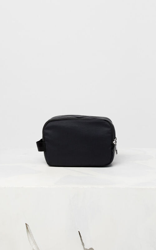 BLACK KENZO Logo travel bag for unisex
