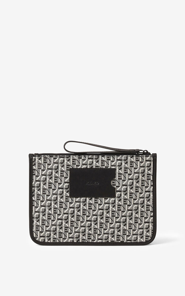 MISTY GREY Courier gusseted jacquard clutch for women KENZO