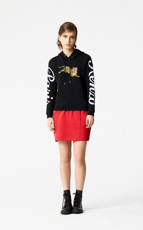 BLACK 'Jumping Tiger' hoodie 'Golden Week capsule' for women KENZO