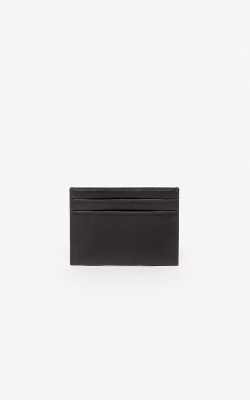 BLACK 'Lucky Tiger' leather cardholder for unisex KENZO
