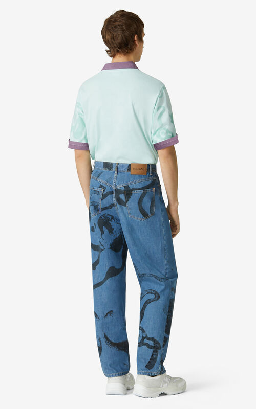 NAVY BLUE K-Tiger denim trousers for men KENZO