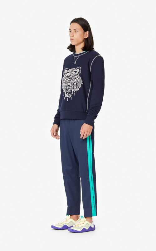 MIDNIGHT BLUE 'Ikat' Tiger sweatshirt for men KENZO