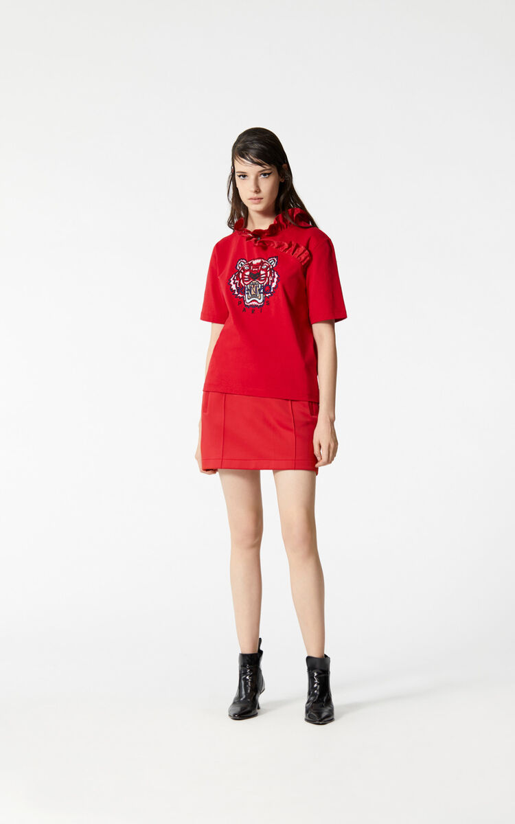 MEDIUM RED Tiger ruffle neck t-shirt for women KENZO