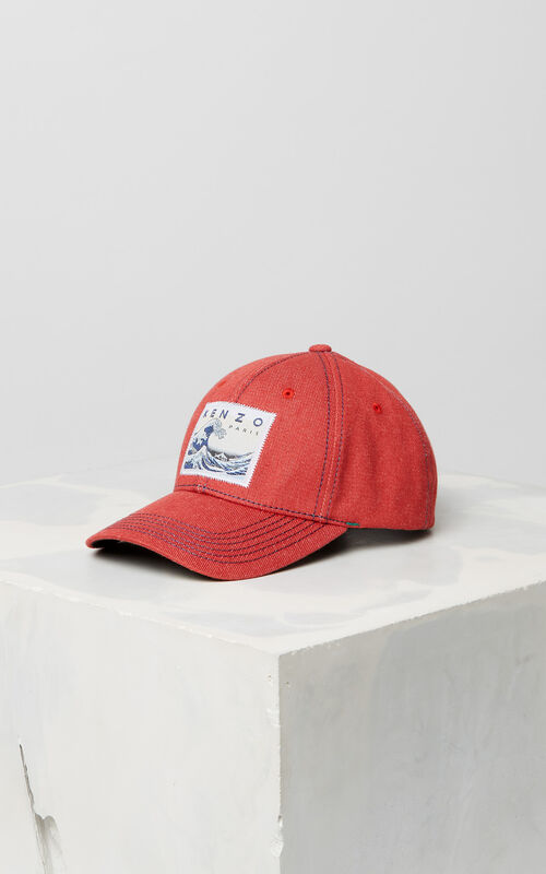 MEDIUM RED Denim 'Kanagawa Wave' baseball cap for women KENZO