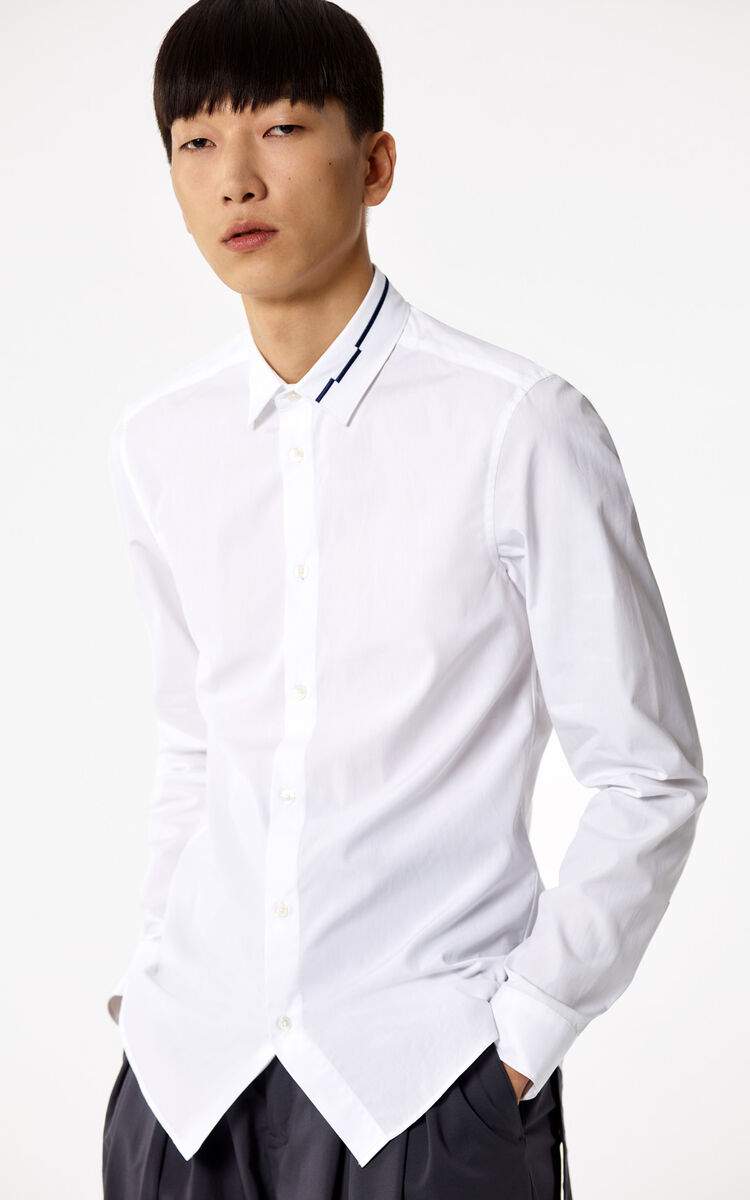 WHITE Shirt with embroidered collar for women KENZO