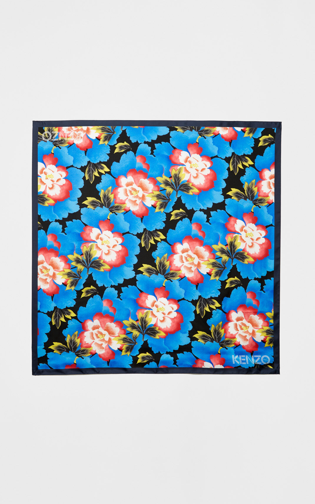 FRENCH BLUE Square 'Indonesian Flower' print silk scarf for unisex KENZO